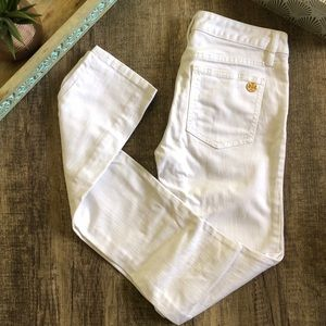 Tory Burch Super Skinny Stonewashed White Jeans